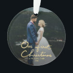 """Our First Christmas Chic Hand-Lettered Christmas Ornament<br><div class=""""desc"""">A chic Xmas gift for newlyweds. Send out this beautiful photo Christmas ornament to newlyweds to commemorate their wedding, for their first Christmas as a married couple. The ornament features """"Our First Christmas"""" in a beautifully hand-lettered faux gold font with space for one photo. Personalize the ornament by replacing the...</div>"""
