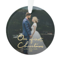 Our First Christmas Chic Hand-Lettered Christmas Ornament