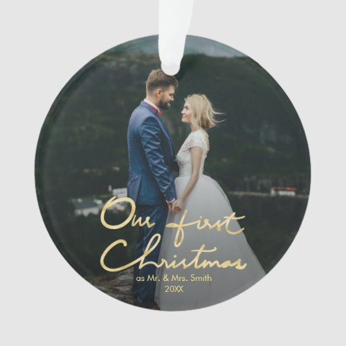 Our First Christmas Chic Hand_Lettered Christmas Ornament