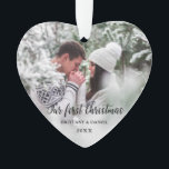 """Our First Christmas Couple Photo Heart Ornament<br><div class=""""desc"""">Elegant Our First Christmas Couple Photo Heart Ornament</div>"""