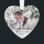 "Our First Christmas Couple Photo Heart Ornament<br><div class=""desc"">Elegant Our First Christmas Couple Photo Heart Ornament</div>"
