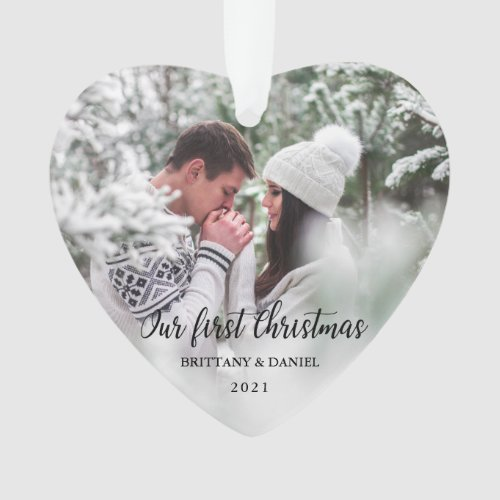 Our First Christmas Couple Photo Heart Ornament