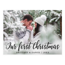 Our First Christmas Couple Photo Postcard