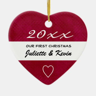 Our First Christmas Custom Name Red Holiday Ceramic Ornament
