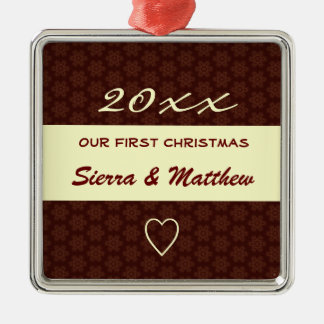 Our First Christmas Custom Name Red Holiday Metal Ornament