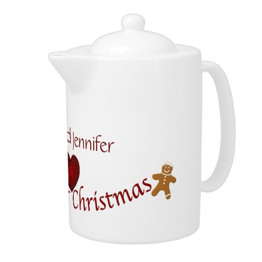Our First Christmas-customize names/Red Heart Teapot