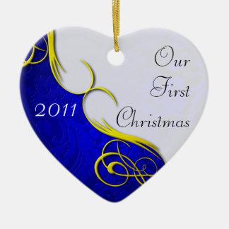 Our First Christmas Damask Christmas Ornament