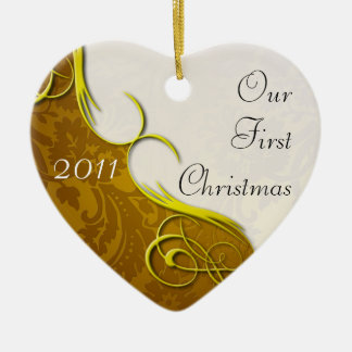 Our First Christmas Damask Christmas Ornaments