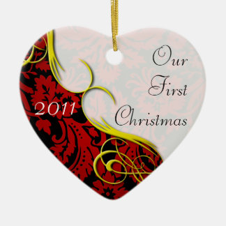 Our First Christmas Damask Double-Sided Heart Ceramic Christmas Ornament