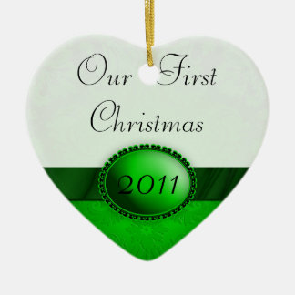 Our First Christmas Damask Ribbon Christmas Tree Ornaments
