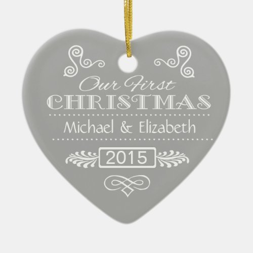 Our First Christmas Double-Sided Heart Ceramic Christmas Ornament