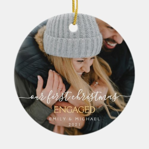 Our First Christmas Engaged Hand Lettered Photo Ceramic Ornament