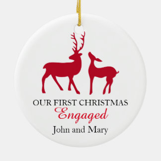 Our first Christmas Engaged ornament, love deers Double-Sided Ceramic Round Christmas Ornament