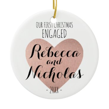 Christmas Themed Our first Christmas Engaged ornament Rose gold
