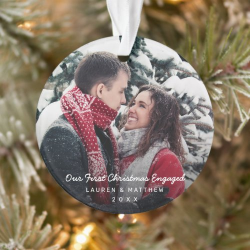 Our First Christmas Engaged Photo Modern White Ornament