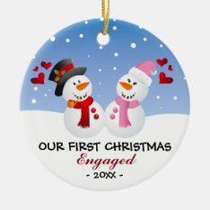 Our First Christmas Engaged Snowman Ornament at Zazzle