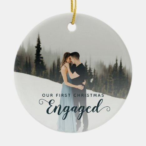 Our First Christmas Engaged Two Sided Photo Couple Ceramic Ornament