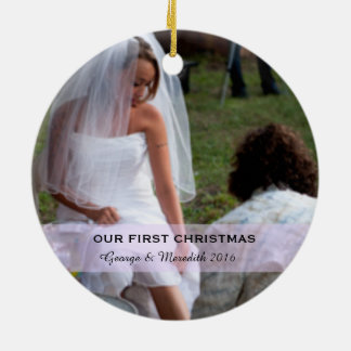 Our First Christmas for Couples Circle Ornament