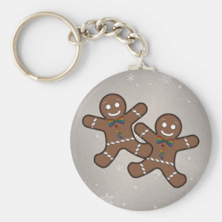 Our First Christmas Gingerbread Couple Gay Pride Keychain
