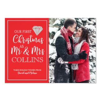 Our First Christmas | Glitter Diamond Holiday Card