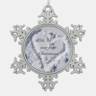 Our First Christmas Glittering Snowflake Snowflake Pewter Christmas Ornament
