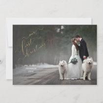 Our First Christmas Gold Overlay Script Photo Holiday Card