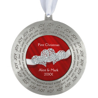 Our First Christmas Graphic Diamonds Hearts Red Ornament