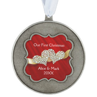 Our First Christmas Graphic Diamonds Hearts Red Pewter Ornament