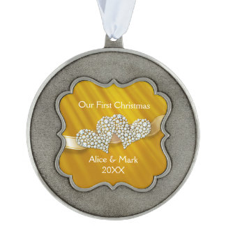 Our First Christmas Graphic Diamonds Hearts Yellow Ornament