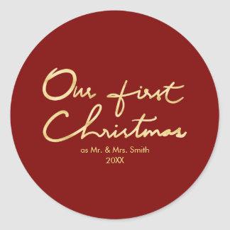 Our First Christmas |Hand Lettered Christmas Classic Round Sticker