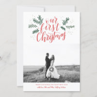 Our First Christmas Hand-lettered Newlywed Photo Holiday Card