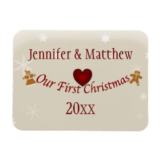 Our First Christmas-Heart/customize name and year Vinyl Magnets