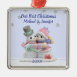 Our First Christmas Hugging Snow Couple Ornament