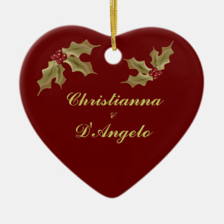 """""""Our First Christmas/Husband and Wife"""" Ceramic Ornament"""