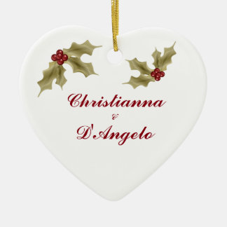 """Our First Christmas/Husband and Wife"" Ceramic Ornament"