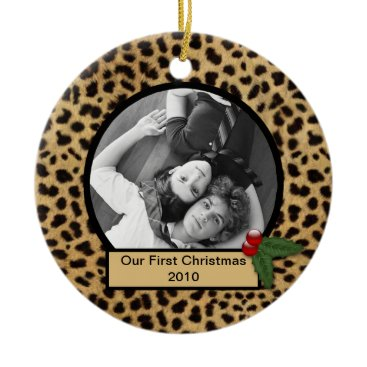 Christmas Themed Our First Christmas Leopard Print Ornament