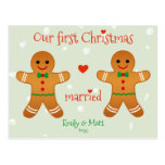 Our First Christmas Married - Cute Gingerbread Men Postcard