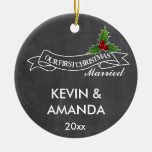 our first christmas married engaged together ceramic ornament - Our First Married Christmas Ornament