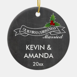 Our first Christmas married engaged together Ceramic Ornament