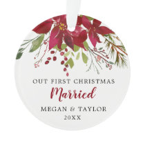 Our First Christmas Married Floral Ornament