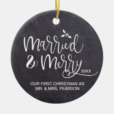 Our First Christmas Married Merry photo Chalkboard Ceramic Ornament