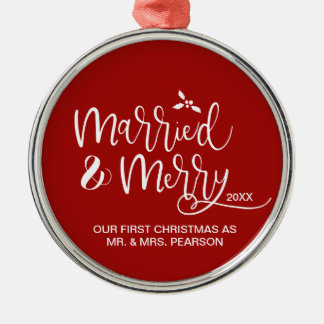 Our First Christmas, Married, Merry, Red Metal Ornament