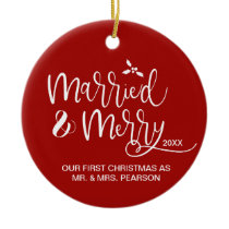 Our First Christmas, Married, Merry, Red, Photo Ceramic Ornament