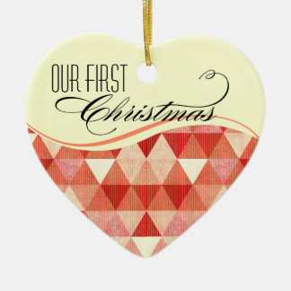 Our First Christmas Modern Lines Photo coral Ceramic Ornament