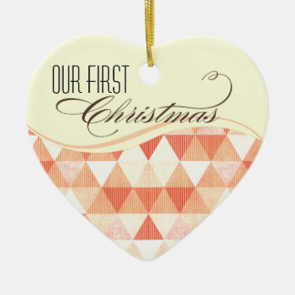 Our First Christmas Modern Lines Photo peach Ceramic Ornament