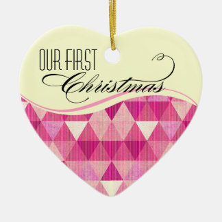 Our First Christmas Modern Lines Wedding fuschia Ceramic Ornament