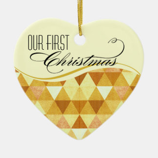 Our First Christmas Modern Lines Wedding gold Ceramic Ornament