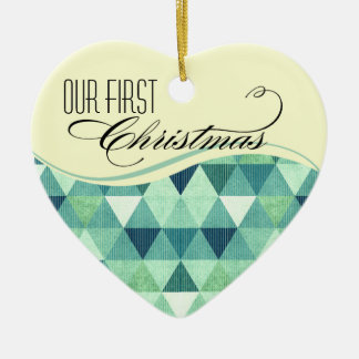 Our First Christmas Modern Lines Wedding teal Ceramic Ornament