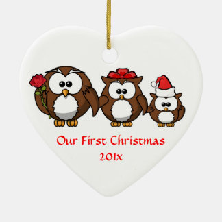 Our First Christmas Mom Dad Baby Custom Christmas Ceramic Ornament