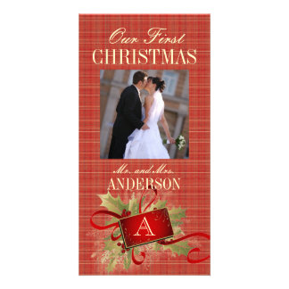 Our First Christmas Monogram Wedding Photo Cards